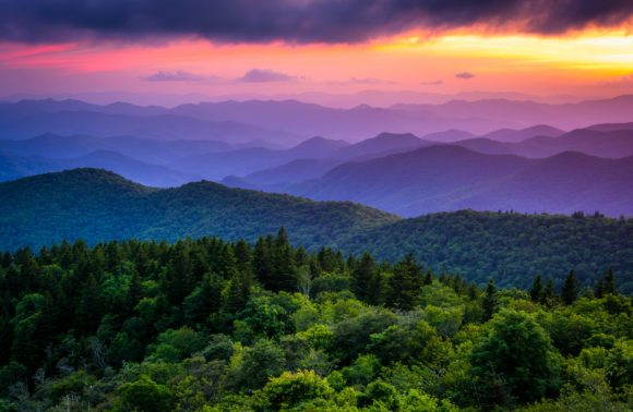 Cowee Mnt Sunset Blue Ridge Parkway
