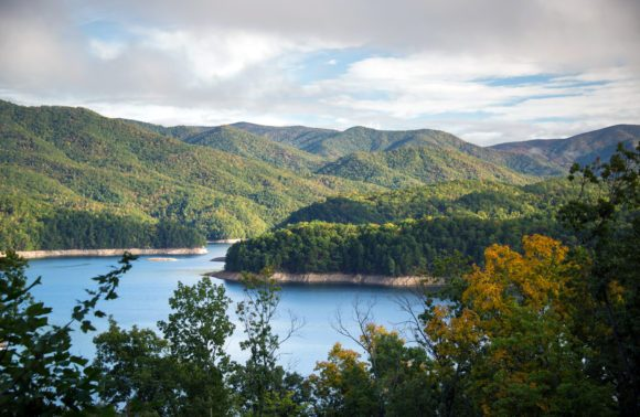 Panoramic view of Lake Fontana in western North Carolina in the Great Smoky Mountains