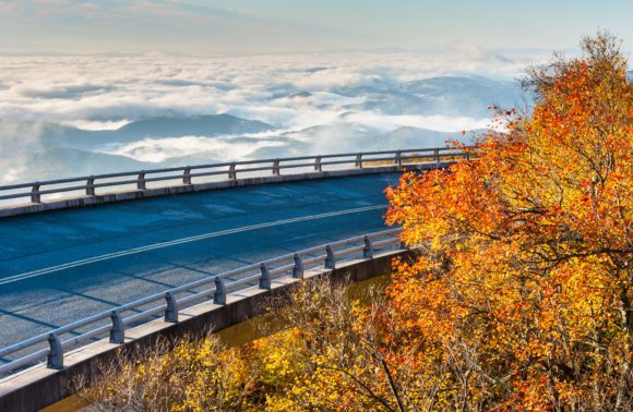 Riding above the clouds on Linn Cove Viaduct Blue Ridge Parkway