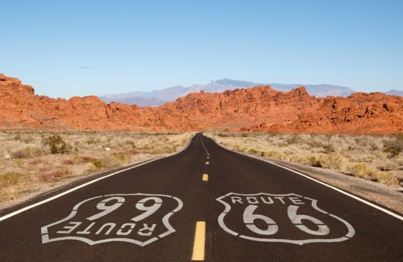 Route 66 in Arizona Desert