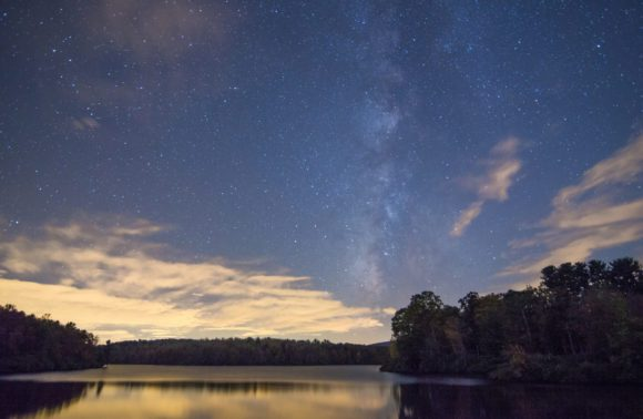 The Milky Way over Julian Price Lake, Blowing Rock NC