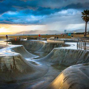 Venice CA Skate Park at Beach Sunet