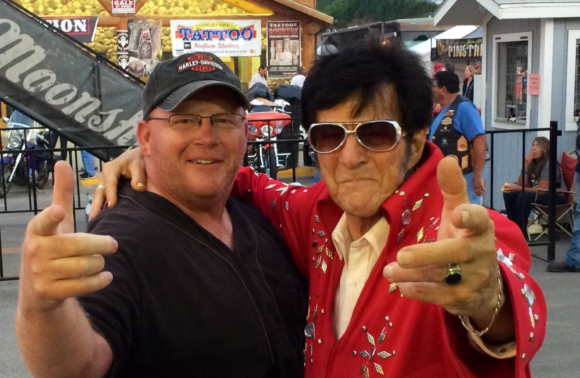 With Elvis Impersonator at Sturgis 2014
