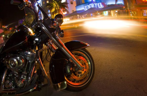 motorcycle on Ocean Drive night scene South Beach Miami Florida